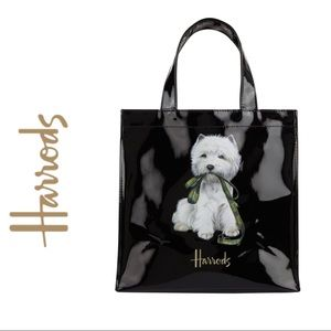 HARRODS WESTIE SMALL GLOSSY TOTE NWOT